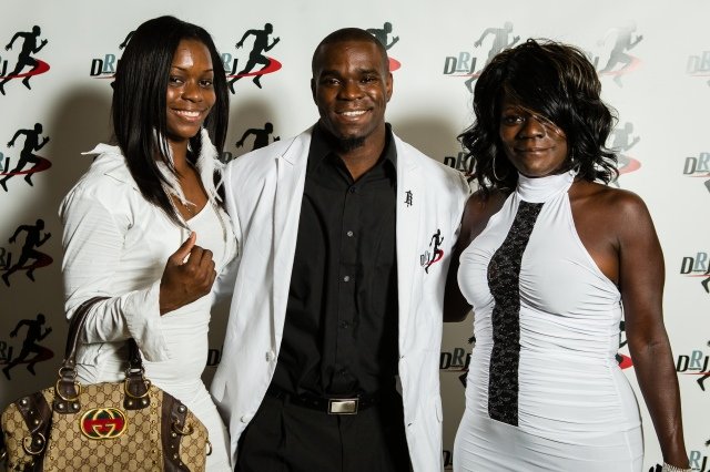 Derrick Roberson jr with his mother and sister at the Charity Classic